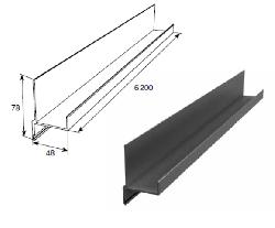 Профиль Ц-образный неравнополочный для проема калитки с низким порогом металлик DHSW-00280/M L=6200mm