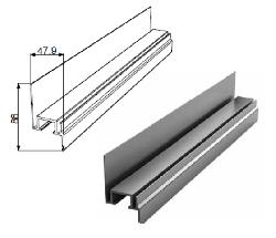 Профиль Ц-обр.неравнополочный для калитки с низким порогом с шиной металлик DHSW-00330/M L=6200mm