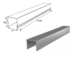 DHSW-20080/M АЛЮМИНИЕВЫЙ ПРОФИЛЬ П-ОБРАЗНЫЙ УСИЛЕННЫЙ L=6200mm