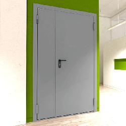 Дверь DoorHan/1250/2050/техническая/двухств/глухая/глад/глад/7035/левая/с угл. рамой