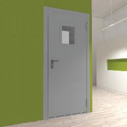 Дверь DoorHan/1080/2050/технич/одностворчатая/остекл./глад/глад/RAL7035/прав./с угл.рамой
