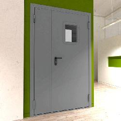 Дверь DoorHan/1350/2050/техническая/двухств/остекл./глад/глад/7035/левая/с угл. рамой