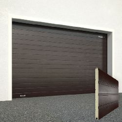 Ворота секционные серии RSD01SС №15 ширина 2500 высота 2515 доска, коричневые
